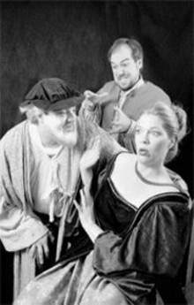 Kevin Misslich, Robert Garner and Patricia Andress (left to right) plot -- and dissemble -- an affair to remember in Falstaff (see Saturday).