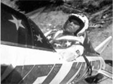Having conquered mid-'70s America, Evel Knievel boards his skycycle and heads for Mexico (see Wednesday).