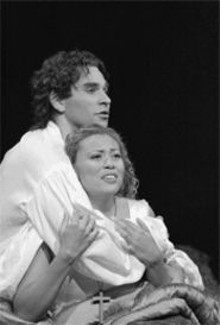 KEN  HOWARD - Tainted love: Frdric Antoun (Romeo) and Alyson - Cambridge (Juliet) bring passion to their roles.