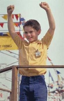 Li'l Anakin cheers for NASCAR on water.