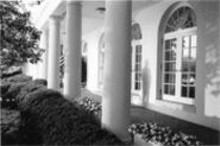 CHRISTOPHER  USHER - Christopher Usher's Colonnade depicts either - a president in silent reverie or a Secret Serviceman - about to whiz on the bushes -- find out Monday.