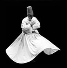 It only looks like this dervish is floating; he's actually - whirling.