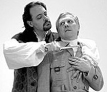 Zastrozzi prepares to administer the closest of shaves - to Victor at the Soulard Theatre on Friday.