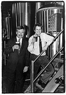 Tom Schlafly (left, back in the day) holds court at Schlafly's Twelfth Anniversary Party