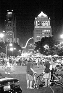 A knot of cyclists caught mid-ramble at last year's Moonlight Ramble