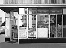 """""""Danbury Tile,"""" a 1972 silkscreen by Richard Estes, on view at Elliot Smith Contemporary Art"""