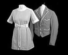 Vintage carhop uniforms from the Parkmoor are ghosts of Memory, at the Missouri History Museum.