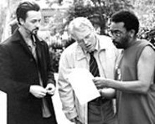 Edward Norton, Philip Seymour Hoffman and Spike Lee at work on 25th Hour