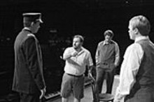 Graham Fandrei, director Michael Albano, David Sadlier and Bryon Grohman during a rehearsal of Loss of Eden