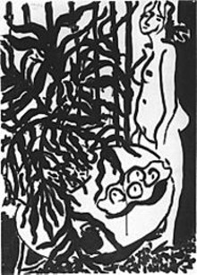 Henri Matisse, Standing Nude, Black Fern, 1948, brush and ink on paper