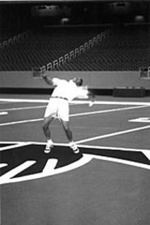 PELOTON  SPORTS - Ken Blackburn unleashes his record throw.