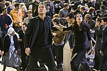 Look! Up in the air! It's an angel! It's a demon! It's Tom Hanks and Ayelet Zurer!