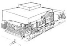 An initial drawing of the Loop Theatre: Building a new theater is more costly, but working from a blank slate means adapting to the artists' needs rather than conforming to the existing architecture.