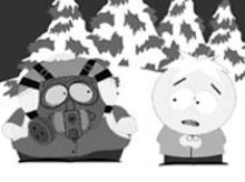 """COMEDY  CENTRAL - It's a gas, gas, gas mask: In the South Park episode """"Osama bin Laden Has Farty Pants,"""" Cartman explains to Butters the need for protection."""