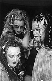 Teresa Doggett, Larissa Forsyth and Aimee Libke as Macbeth's three witches