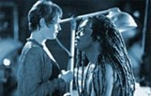 Ann Magnuson and Samuel L. Jackson in the thriller The Caveman's Valentine, an ambitious but disappointing pastiche of too many predecessors.