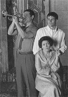 Paul DeBoy (with horn), Joey Collins and Carol Schultz in the Rep Studio's Side Man