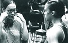 ABBOT  GENSER - Writer/director Karyn Kusama, a St. Louis native, instructs Michelle Rodriguez in the ring during the making of Girlfight.