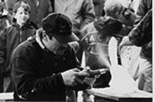 Ice sculptor Bill Melson at the 1999 Fte de Glace. This year's festival is held Jan. 29 in St. Charles.