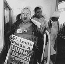 """JENNIFER  SILVERBERG - ACORN protester Gail Schumpert demonstrating at Archway Building Maintenance Inc. on Gravois: """"You can't pay poverty wages and expect people to live."""""""