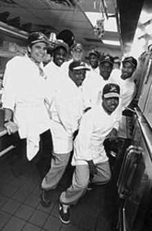 JENNIFER  SILVERBERG - Fio Antognini (far left) and his kitchen crew
