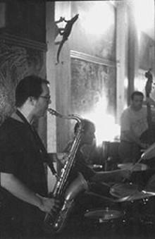 BOB  REUTER - Dave Stone, Kyle Honeycutt and Eric Markowitz at Cafe Mangia
