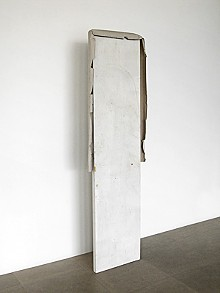 COURTESY OF GREENE NAFTALI GALLERY, NEW YORK - Partly Me Manners, 2008. Door and paper, 88 x 24 x 4 inches.