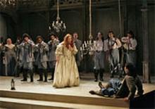 Puritani work ethic: Pamela Armstrong as Elvira and Frdric Antoun as Arturo.