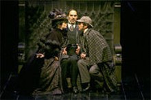 JERRY NAUNHEIM JR - Too elementary: (left to right) Brandy Burre as Irene Adler, Howard Kaye as Doctor Watson and Joris Stuyck as Sherlock Holmes.