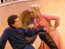 Benedick (John Wolbers, left) and Beatrice (Suki Peters, right) make something out of Nothing.
