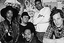 COURTESY RONALD BUTTS - The Nasty Cuts Records crew in a Washington Avenue recording studio circa 1987. From left: Dangerous D, Tom Ray, G. Wiz, DJ Charlie Chan and Nick the Engineer.