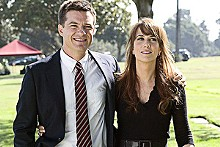 Making the oh-no face in the suburbs: Jason Bateman and Kristen Wiig in Extract.