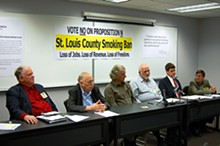 Smoke 'em if you've got 'em: Rev. Harold Hendrick, Fred Teutenberg, Scott Simon, Jon Rand, Bill Hannegan and Gerard Ezvan hope to stub out St. Louis' proposed smoking ban.