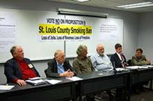 Smoke 'em if you've got 'em: Rev. Harold Hendrick, Fred Teutenberg, Scott Simon, Jon Rand, Bill Hannegan and Gerard Ezvan hope to stub out St. Louis' proposed smoking ban.