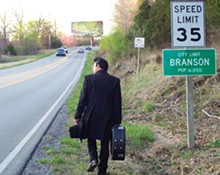 A spitting image of the Man in Black tries to find his way home in Branson.