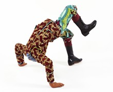 PHOTO: JASON MANDELLA - Yinka Shonibare MBE, b. United Kingdom, 1962; Boy Doing Headstand, 2009; life-size fiberglass mannequin, Dutch wax-printed cotton, mixed media; 27 1/2 x 33 x 30 1/2 inches; Courtesy of the artist and James Cohan Gallery, New York.