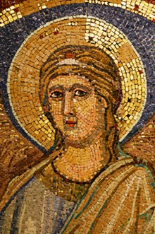 © CITTÁ DEL VATICANO - Giotto di Bondone, Bust of an Angel, after 1304, polychrome mosaic. The Reverenda Fabbrica of Saint Peter, Vatican City State.