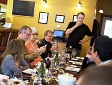 JENNIFER SILVERBERG - Ernesto's bartender/wine educator Joshua Renbarger discusses the evening's choices.