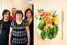 JENNIFER SILVERBERG - Left: Mai Lee owner Lee Tran surrounded by her children (from left) Linda, Qui and Sara. Right: tempura fried shrimp. See a slideshow of Mai Lee's new home -- and its dishes -- right here.