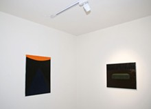 The two small paintings by Alex Gene Morrison on display at Isolation Room/Gallery Kit