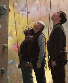 ZADE ROSENTHAL - Isiah Whitlock Jr., Mike O'Malley and Ed Helms contemplate life at the top in Cedar Rapids.