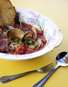 JENNIFER SILVERBER - Aw, shucks: Manhattan clam chowder at DeMun Oyster Bar.
