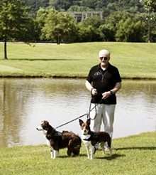JENNIFER SILVERBERG - Rib Bolton and his two border collies harass geese for local business owners.