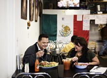 JENNIFER SILVERBERG - Tony and Brenda Garcia, owners of La Tejana, take time out for a quick lunch.