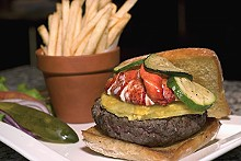 MICHELLE HUDGINS - The Burger Bar's American Kobe beef burger on ciabatta topped with roasted pineapple, Maine lobster and zucchini.