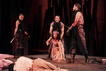 Shanara Gabrielle, David Graham Jones and Michael Keyloun as Murderers and Nancy Bell as Lady Macduff in Macbeth.
