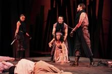 Shanara Gabrielle, David Graham Jones and Michael Keyloun as Murderers and Nancy Bell as Lady Macduff in Macbeth.