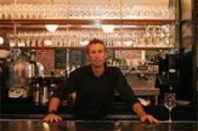 BECCA  YOUNG - Homme du Pomme: Mike Whitehead tends bar at this cozy- - chic café.