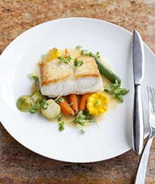 JENNIFER SILVERBERG - Halibut, braised in white wine with baby vegetables.