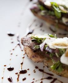 JENNIFER SILVERBERG - Steak Bruschetta - rosemary flank steak, blue cheese, arugula, chianti braised shallots, grilled baguette, shaved Parmesan and balsamic reduction.